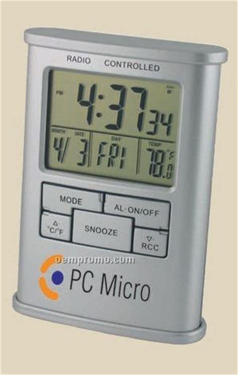 atomic desk clock dual time analog and digital alarm clock with calendar