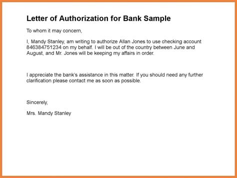 personal authorization letter examples  examples
