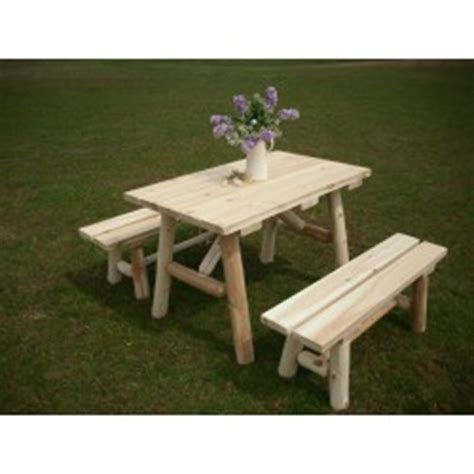 unfinished picnic tables for sale white cedar log picnic tables