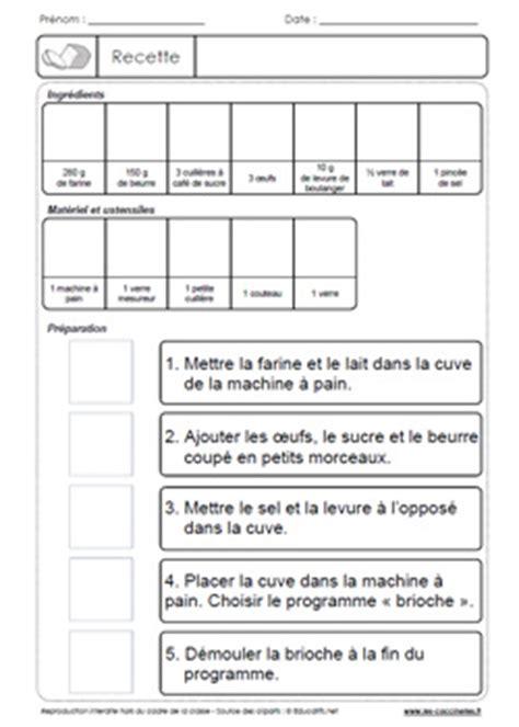 exercice recette de cuisine recettes en classe exercices de lecture gs cp ce1 ce2