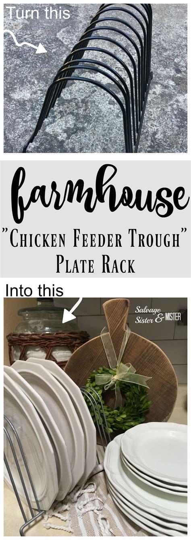 diy farmhouse chicken feeder trough plate rack plate racks farmhouse style kitchen diy plate