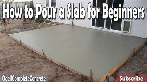 pour  concrete slab  beginners diy youtube