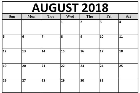 august 2018 calendar template august 2018 calendar printable template with holidays pdf word excel