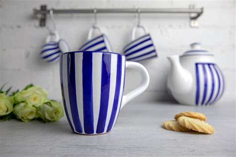 Plus, the best novelty coffee mug you humorous coffee mugs with captions are always printed on white background. Dark Navy Blue Striped Designer Handmade Hand Painted Unique Ceramic 10oz/300ml Coffee Tea Mug ...