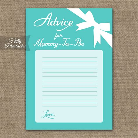 printable advice  mommy baby shower game tiffany blue