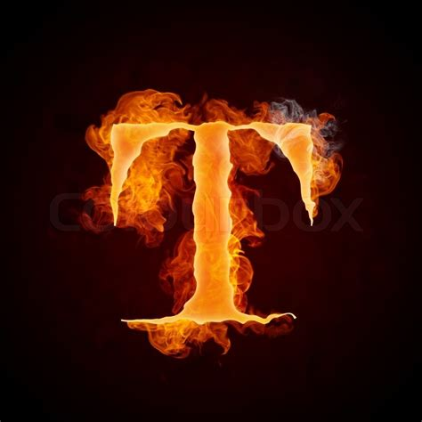 Fire Letter T Isolated On Black Background
