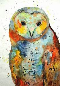 Abstract Watercolor Owl