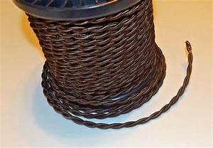 Brown Rayon Covered Twisted Lamp Cord 18 Gauge 2 Wire Sold