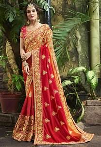 Ombre Art Silk Saree in Maroon and Orange : SEW5740  Silk
