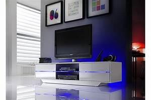 Meuble Tv Design Laqué : meuble tv design blanc laqu led bleu cbc meubles ~ Teatrodelosmanantiales.com Idées de Décoration