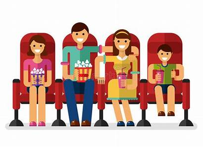 Illustration Cinema Vector Movies Watching Flat Popcorn