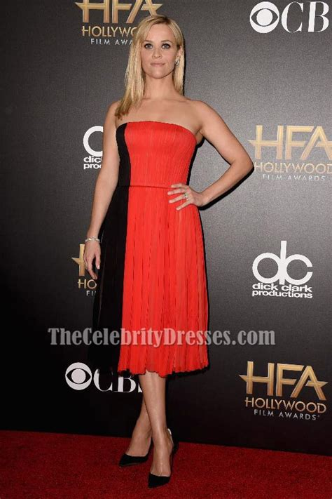 reese witherspoon black  red cocktail dress