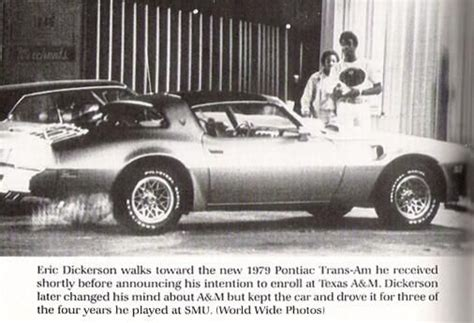 eric dickerson with his new gold trans am shortly before announcing he would sign with texas a m