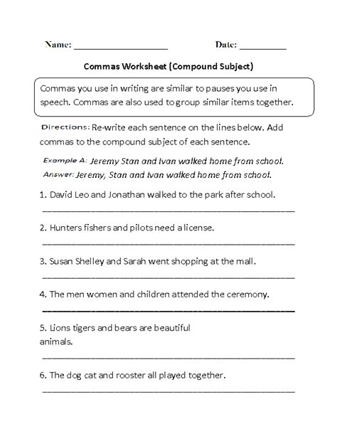 commas in compound sentences worksheets for 2nd grade 16 best images of sentences and subject predicate