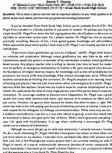 a college admission essay examples