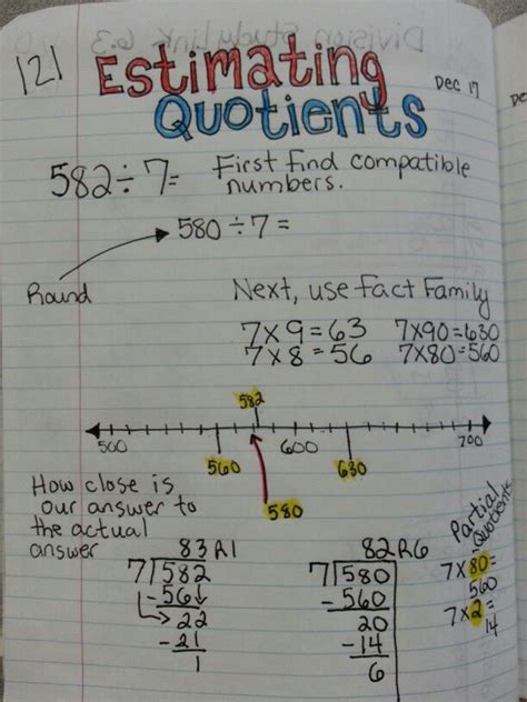estimating quotient  division practice travis