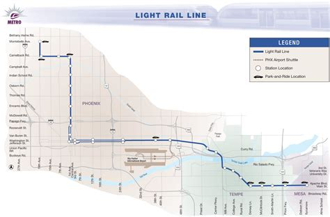 Light Rail Tempe by Valley Metro Light Rail Map Images