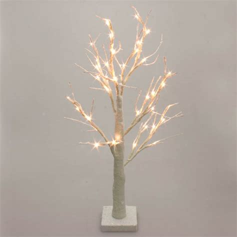 battery operated white glitter twig tree  warm white