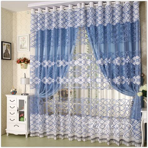 4 styles of blue and white curtains