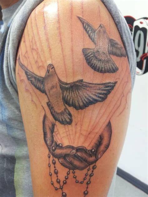 black  white doves  hands  beading tattoo