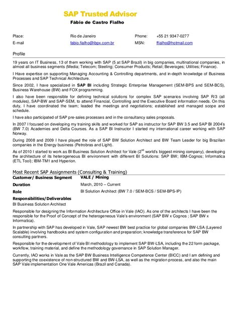 Sap Fico Experience Resume by Sle Resume For Sap Fico Consultant Great Resumes