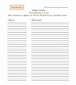 Vocabulary worksheet worksheets releaseboard free for Vocabulary words worksheet template