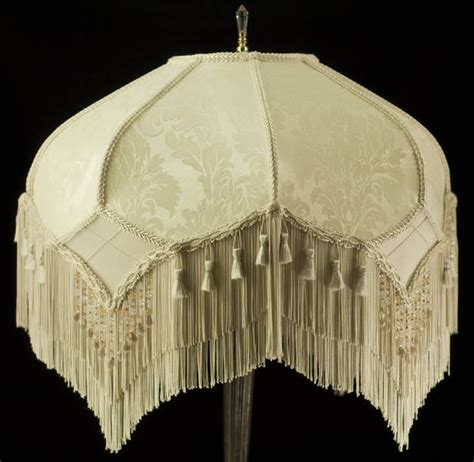 antique l shades with fringe stunning vintage look victorian lampshade ivory damask