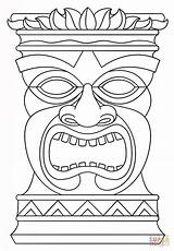 Coloring Tiki Totem Pages Mask Printable Drawing Paper Styles sketch template