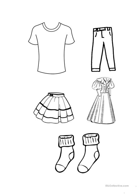 Coloring Clothes by Clothes Colouring Worksheet Free Esl Printable