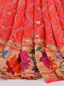 Dhoti Saree Design Peach Bandhej Fabric Saree G3 Wsa29348 G3fashion Com