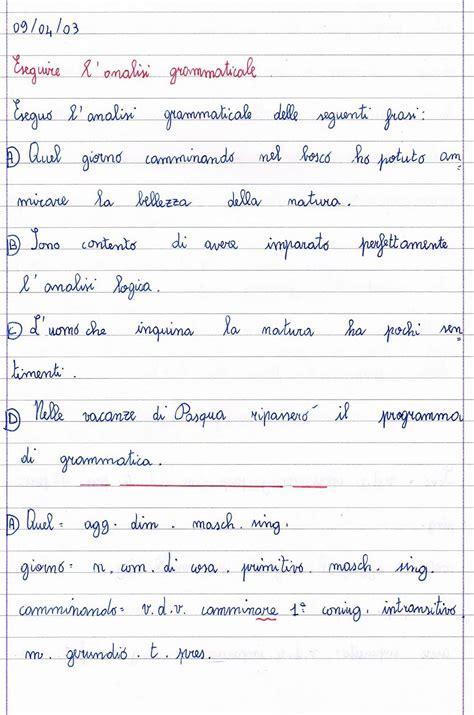 analisi grammaticale classe quinta