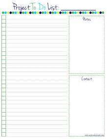 Free Printable Project to Do List Template