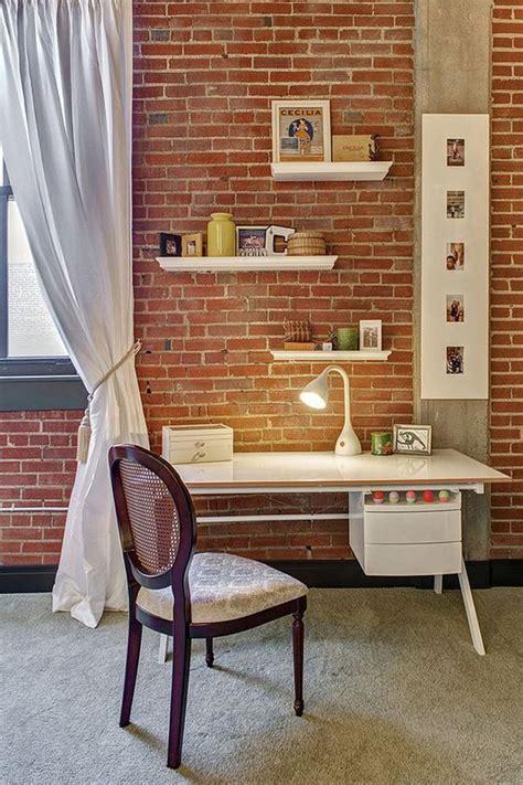beautiful home office  brick wall  storage ideas