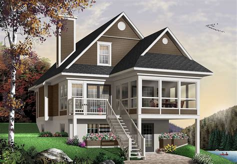 seasons sloping lot cottage dr architectural designs house plans