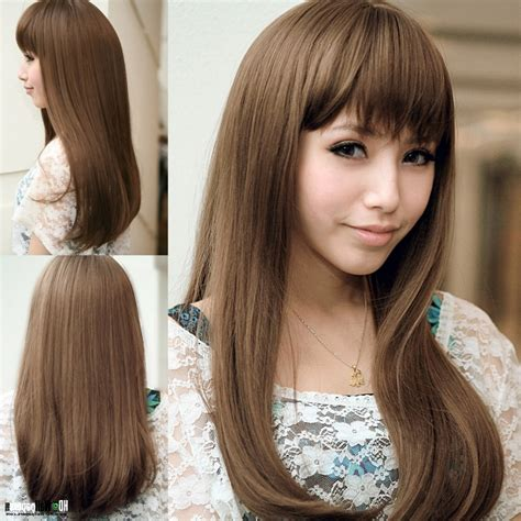 2016 Korean Long Hairstyle Bangs For Long Thin Faces