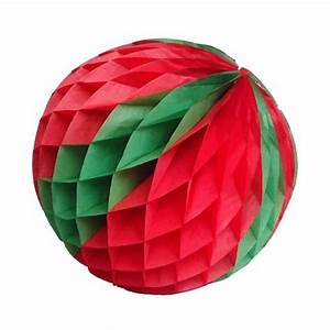 Boule En Papier Crepon : boule en papier cr pon couleur rouge et verte pour d cor de salle prix discount et vaisselle ~ Dode.kayakingforconservation.com Idées de Décoration