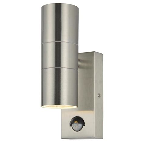 kenn outdoor steel up down wall light with pir sensor