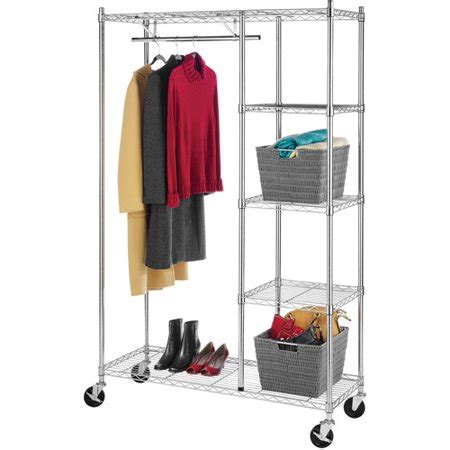 laundry rack walmart whitmor rolling garment rack with shelves chrome finish