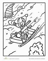 Sled Coloring Sledding Worksheet Pages Snow Winter Fun Worksheets Colouring Kindergarten Christmas Child Education Sheets Going Fast Down Drawings Surely sketch template