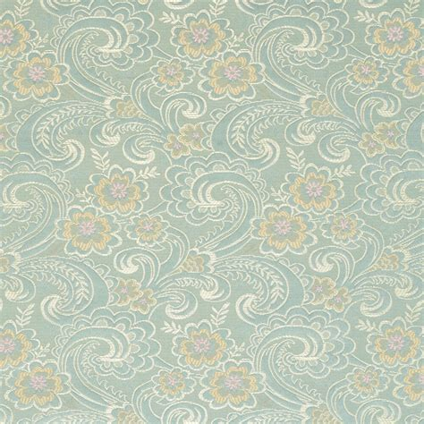 Brocade Upholstery Fabric by D122 Gold Pink And Blue Paisley Floral Brocade Upholstery