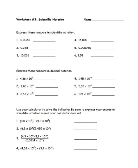 Scientific Notation Multiplication And Division Worksheet Pdf  Operations With Scientific
