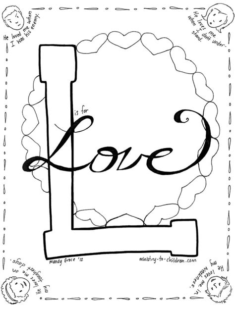 love coloring page ministry  children