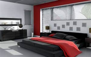 Red white and black bedroom wallpaper 666 for Black and red bedroom ideas