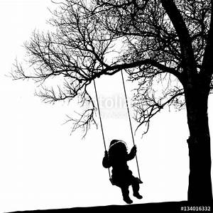 """Little girl on swing under a tree. Realistic silhouette ..."