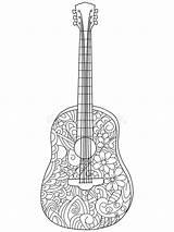 Colorare Coloriage Musique Voor Volwassenen Chitarra Guitare Livre Libro Guitar Coloring Adulti Instruments Vecteur Instrument Adultes Vettore Della Illustrazione Strumento sketch template