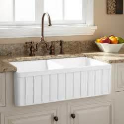 White Fireclay Farmhouse Sink 36 quot gallo reversible 80 20 offset double bowl italian