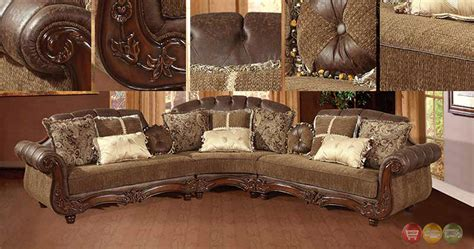 uttermost mirror traditional styled sectional sofa exposed wood