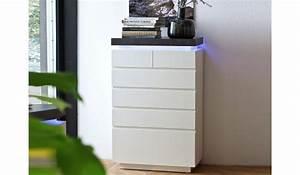 Commode Gris Laqué : commode 6 tiroirs gris et blanc laqu led pour meuble de rangement ~ Teatrodelosmanantiales.com Idées de Décoration