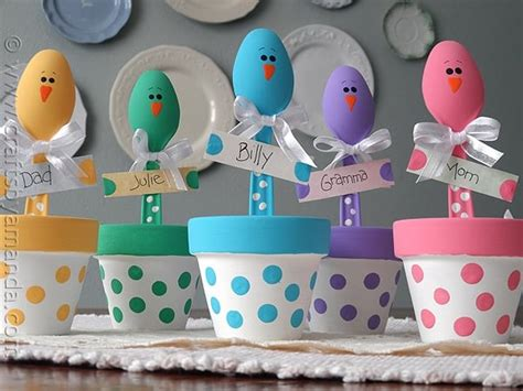 easter chick craft colorful place holders