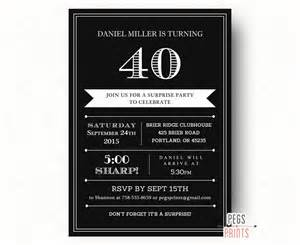 40th birthday invitation for Men (Printable) Adult